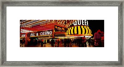 Casino Lit Up At Night, Four Queens Framed Print