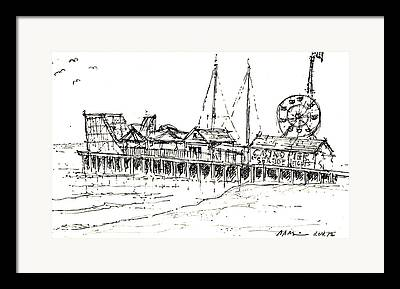 Casino Pier Drawings Framed Prints