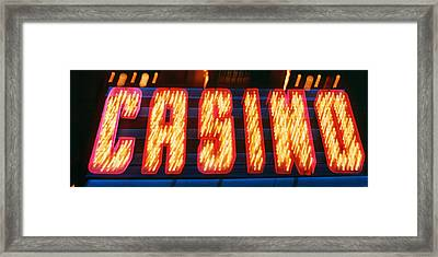 Casino Sign Las Vegas Nv Framed Print by Panoramic Images