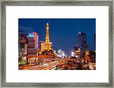 Casinos Along The Las Vegas Boulevard Framed Print by Panoramic Images