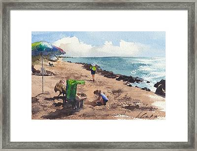 Lady At The Beach Framed Print by Max Good