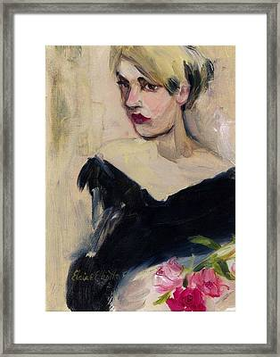 Framed Print featuring the painting Cassandra With Roses by Elaine Elliott