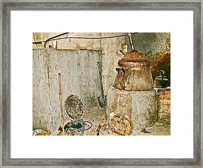 Cassava Root Winemaking Setup On Road To Tho Ha Village-vietnam Framed Print by Ruth Hager