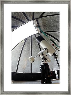 Cassegrain Telescope In Observatory Framed Print by Victor De Schwanberg