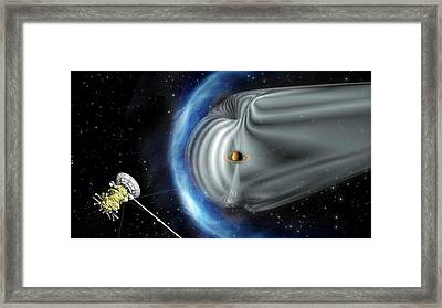 Cassini And Saturn's Magnetic Field Framed Print by Esa