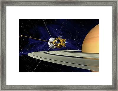 Cassini Orbiter At Saturn Framed Print by Nasa