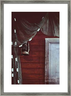 Cast Net And Lantern Framed Print by Stephanie Frey