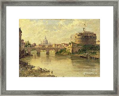 Castel Sant Angelo And St. Peters From The Tiber Framed Print by Antonietta Brandeis
