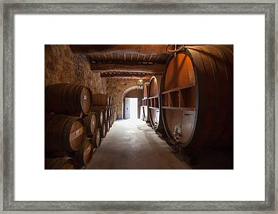 Castelle Di Amorosa Barrel Room Framed Print by Scott Campbell