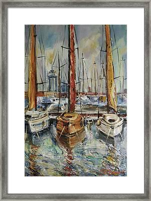 Castellon Boats At Noon Framed Print by Stefano Popovski