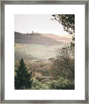 Castelmuzio Sunset Framed Print by Clint Brewer