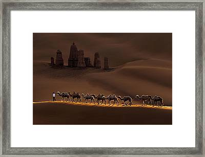 Castle And Camels Framed Print by Mei Xu