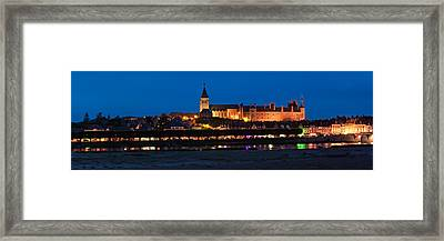 Castle And Loire Bridge Lit Framed Print by Panoramic Images