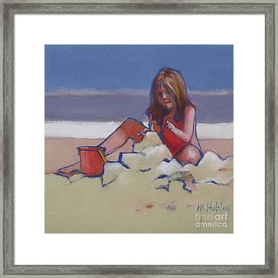 Castle Buiilding Sandcastles On The Beach Framed Print by Mary Hubley