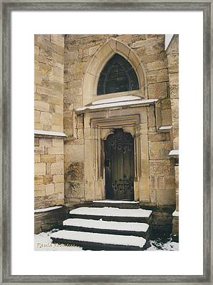 Castle Door Framed Print by Paula Rountree Bischoff