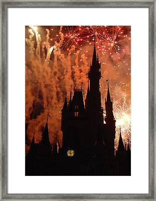 Framed Print featuring the photograph Castle Fire Show by David Nicholls