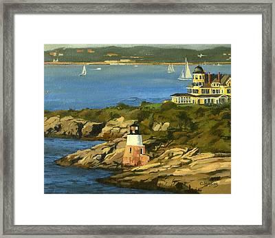 Castle Hill Light And Inn Newport Rhode Island Framed Print by Christine Hopkins