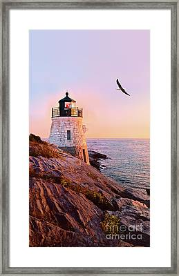 Framed Print featuring the photograph Castle Hill Lighthouse 2 Newport by Marianne Campolongo