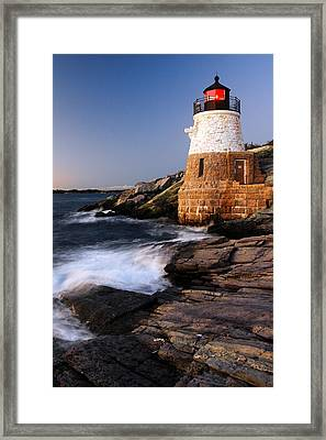 Framed Print featuring the photograph Castle Hill Lighthouse Dusk by James Kirkikis