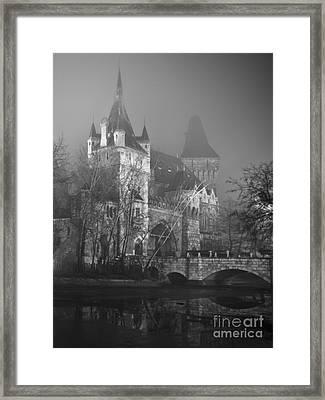Castle In The Night Fog Framed Print