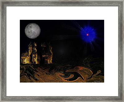 Castle In The Night Framed Print by Ramon Martinez