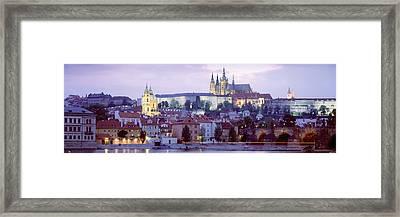 Castle Lit Up At Dusk, Hradcany Castle Framed Print by Panoramic Images