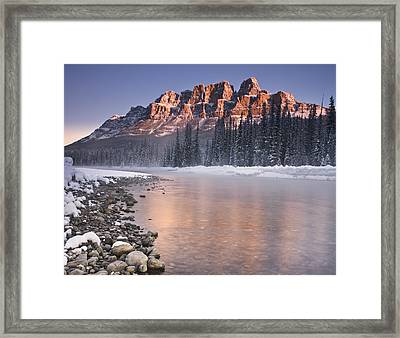 Castle Mountain And The Bow River Framed Print