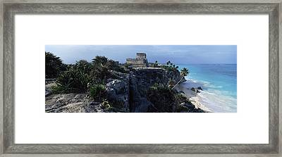Castle On A Cliff, El Castillo, Tulum Framed Print