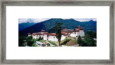 Castle On A Mountain, Trongsar Dzong Framed Print by Panoramic Images