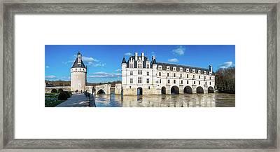 Castle Over A River, Chateau De Framed Print