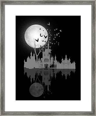 Castle Under Moon Framed Print