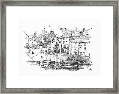 Framed Print featuring the drawing Castletown Harbour by Paul Davenport