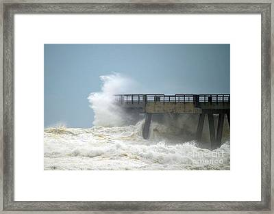 0828 Cat 1 Hurricane Isaac Crashes Into Navarre Beach Pier Framed Print