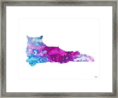 Cat 5 Framed Print by Watercolor Girl