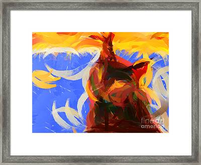 Cat Abstract Art Framed Print by Pixel Chimp