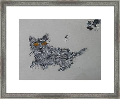 Framed Print featuring the painting Cat by AJ Brown
