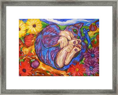 Framed Print featuring the painting Cat Among The Daisies by Dianne  Connolly