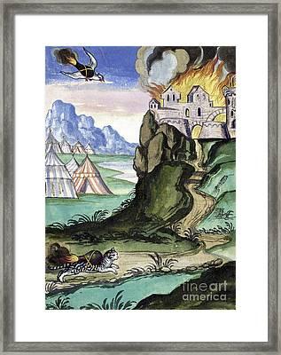 Cat And Bird Carrying Firebombs, 1607 Framed Print