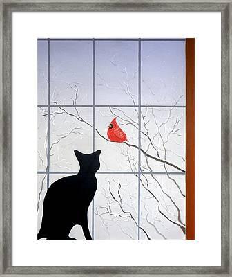 Cat And Cardinal Framed Print by Karyn Robinson