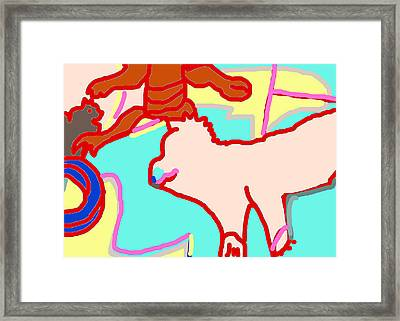 Cat And Dog Framed Print by Anita Dale Livaditis