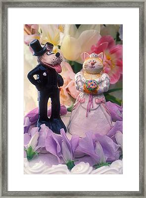 Cat And Dog Bride And Groom Framed Print