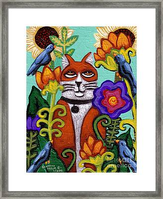 Cat And Four Birds Framed Print by Genevieve Esson
