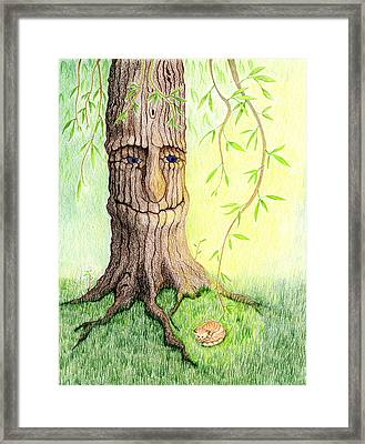 Framed Print featuring the drawing Cat And Great Mother Tree by Keiko Katsuta
