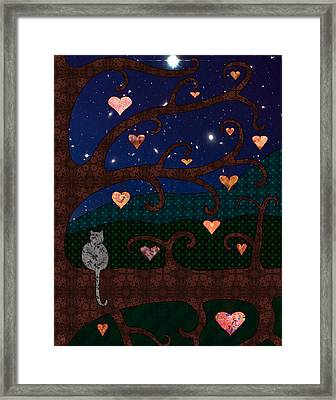 Cat And Hearts In Tree At Night Framed Print