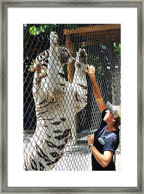 Cat And Keeper Framed Print by Chuck  Hicks