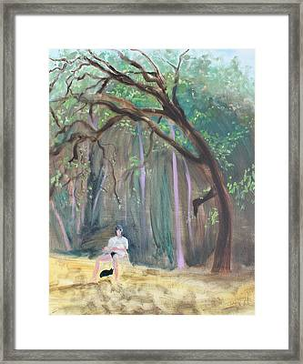 Cat And Reading Man Under A Bay Tree Framed Print by Asha Carolyn Young