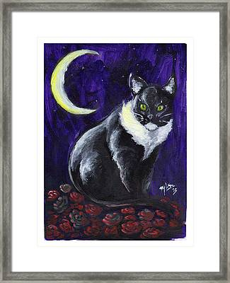 Cat And Roses Framed Print by Miguel Karlo Dominado