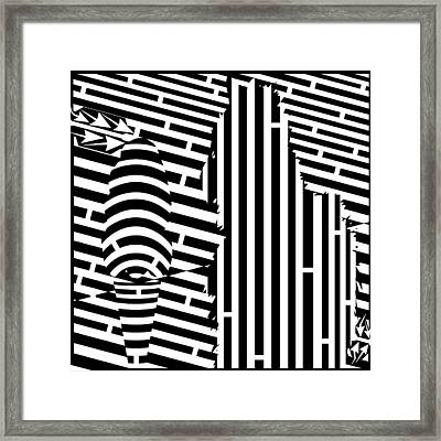 Cat And The Ice Cream Cone Maze Framed Print by Yonatan Frimer Maze Artist