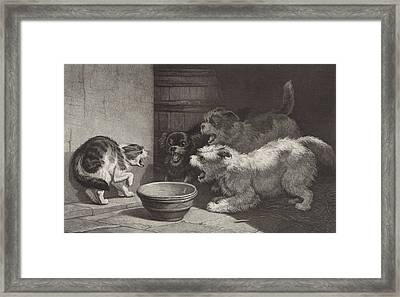Cat And Three Barking Dogs And A Dish, Edouard Taurel Framed Print