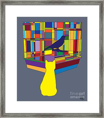 Cat Bird Pop Framed Print by Megan Dirsa-DuBois